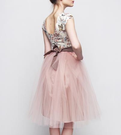 kleiderfreuden brautmode online bestellen standesamtkleid braun rosa kurz mit sch nem t llrock. Black Bedroom Furniture Sets. Home Design Ideas