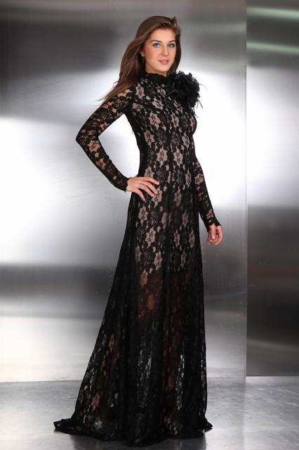 Brautkleid Venti Gothik Style aus schwarzer Spitze Rückenfrei mit ...