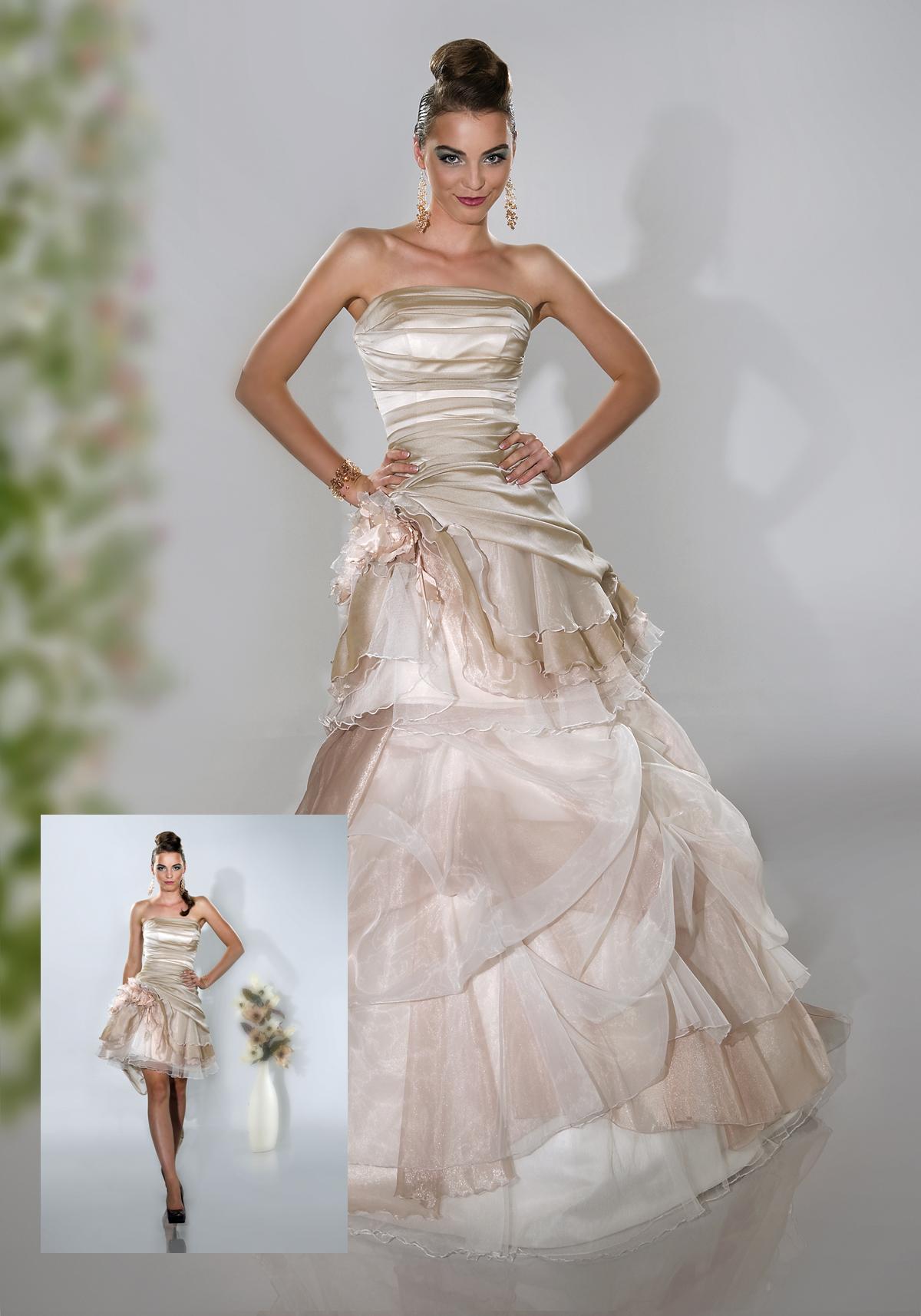 ... - Brautkleid Tatjana mit abnehmbaren Rock aus Organza beige creme