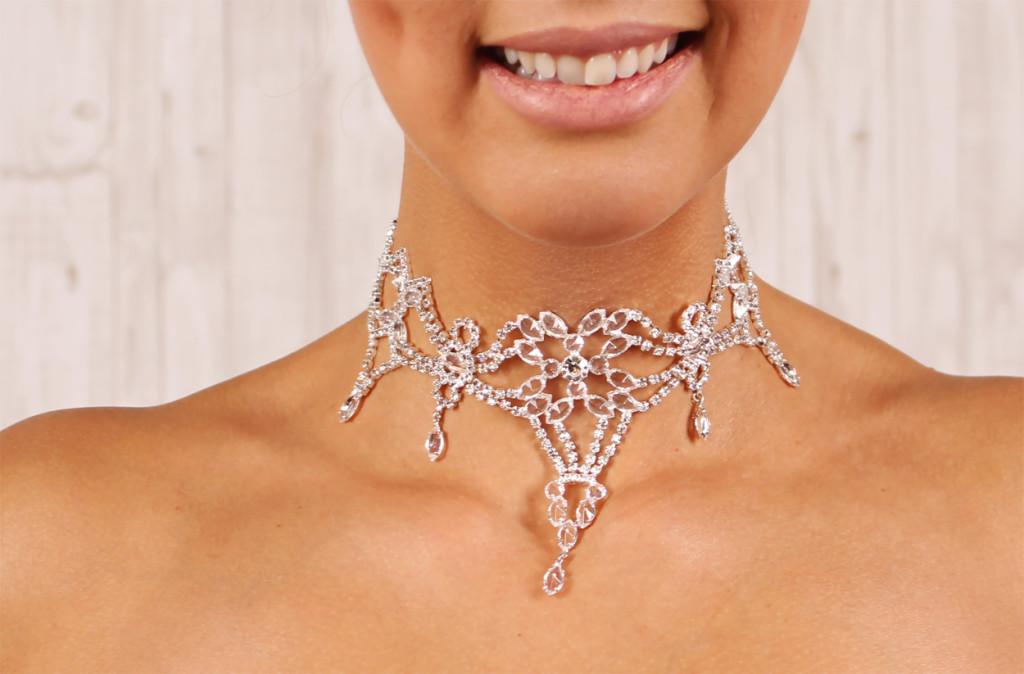 Große Strass Kristall Brautkette collier