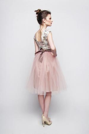 rosa braun standesamtkleid rosenmuster