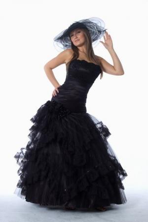 abendkleid stehkragen godet rock schwarz wei ma anfertigung kleiderfreuden. Black Bedroom Furniture Sets. Home Design Ideas