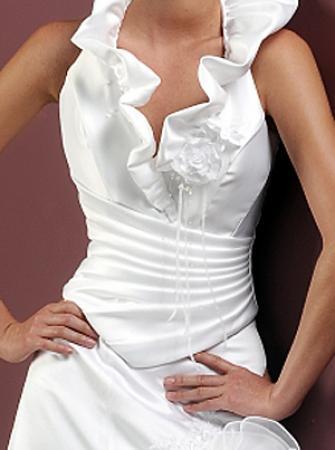 Luxus Brautkleid kurz mit Schleppe Federn & Perlen
