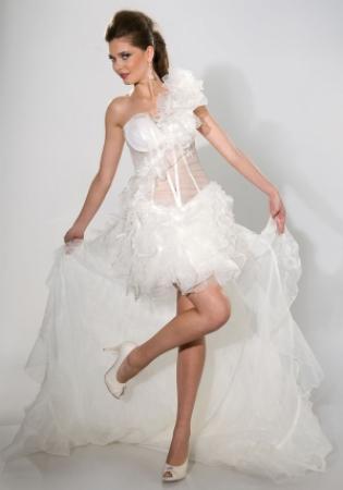 Sexy Brautkleid kurz mit Schleppe transparente Korsage nach Maß