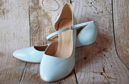 Blaue Brautschuhe Pumps aus Leder Andere Farben möglich