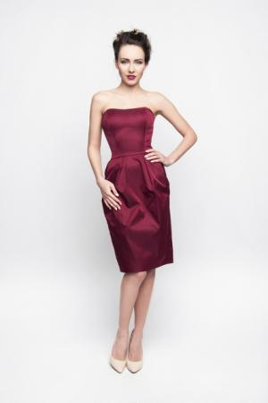 Satin Cocktailkleid Burgund Weinrot Maßanfertigung Deutscher Shop