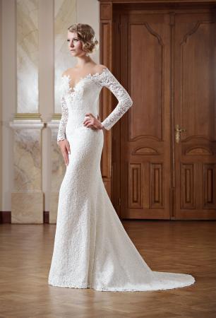 Brautkleid schulterfrei lange Ärmel aus Spitze Rückenfrei