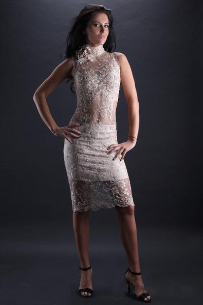 Sexy Brautkleid kurz aus transparenter Spitz - Kleiderfreuden