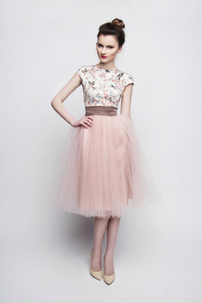 standesamt kleid rosa braun kurz mit t llrock kleiderfreuden. Black Bedroom Furniture Sets. Home Design Ideas