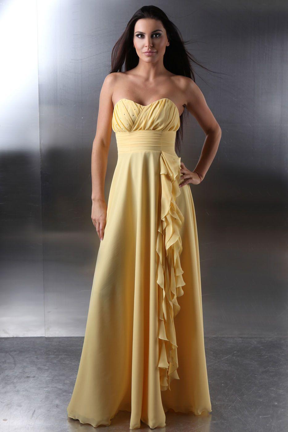 Langes Abschlussballkleid Abendkleid gelb aus Chiffon - Kleiderfreuden