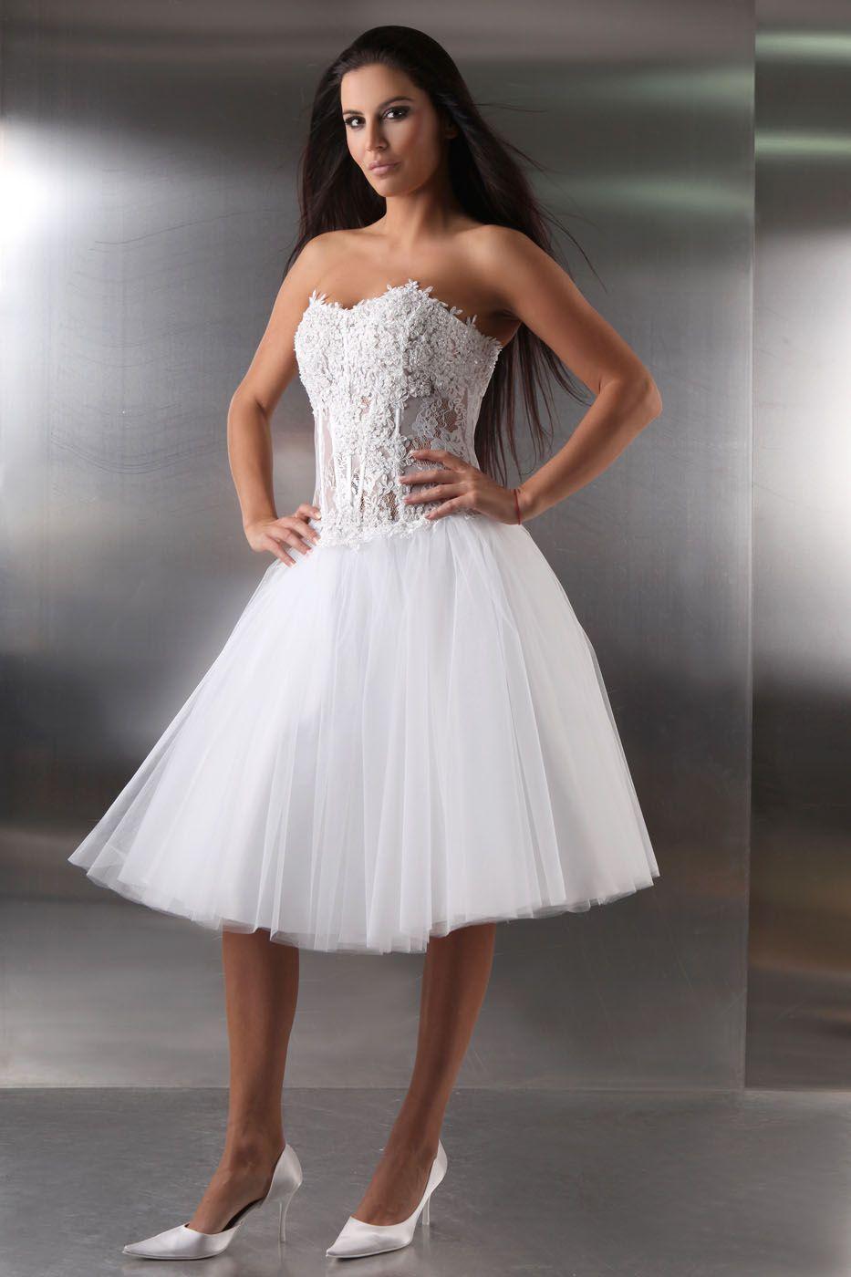 Kurzes 50er Jahre Brautkleid weiß - Kleiderfreuden