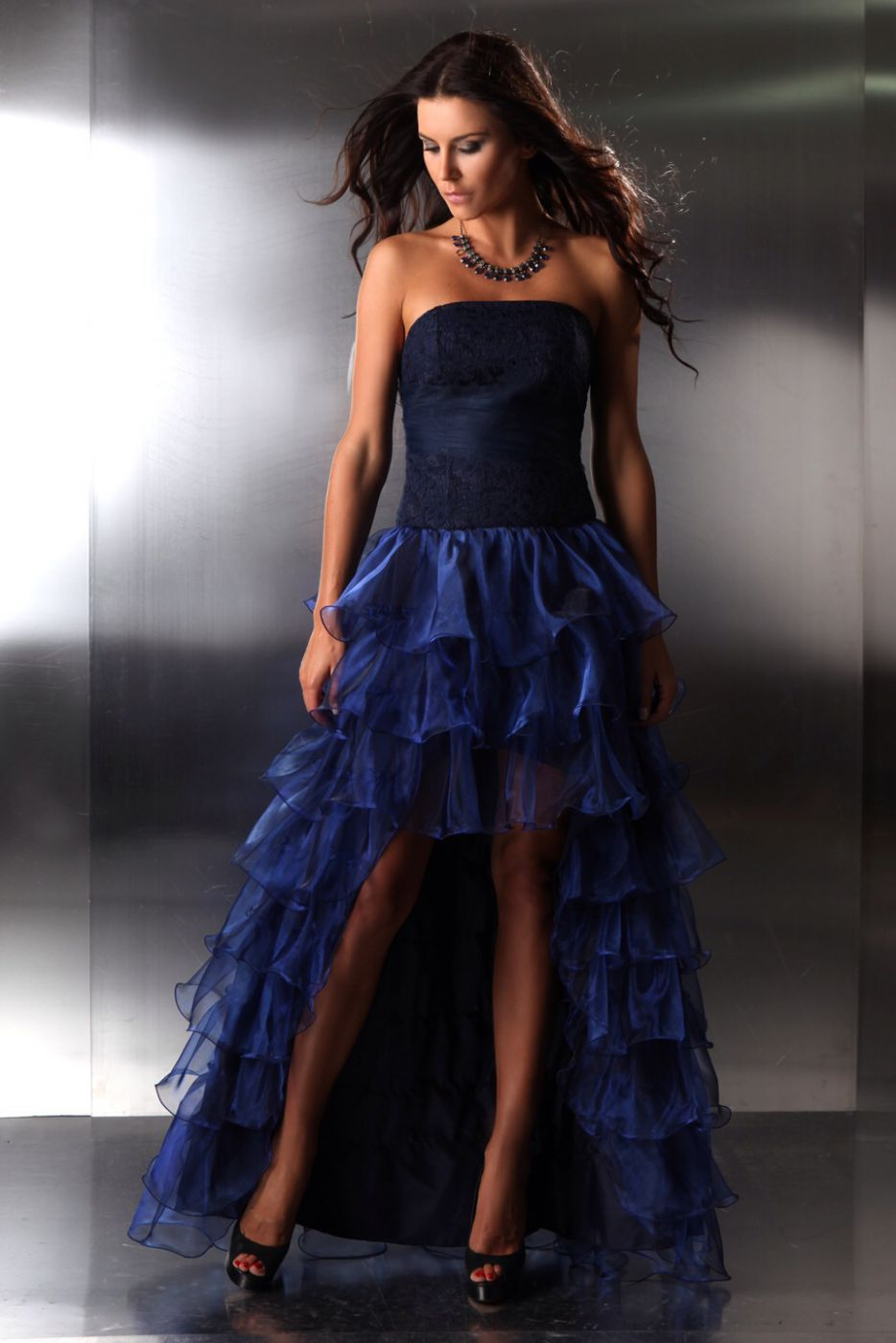 abendkleid vorne kurz hinten lang blau - kleiderfreuden