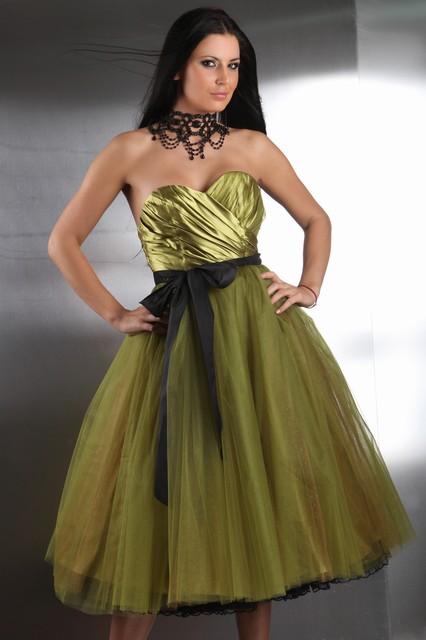 Petticoat Ballkleid in grün & schwarz Tüllrock mit Korsage ...