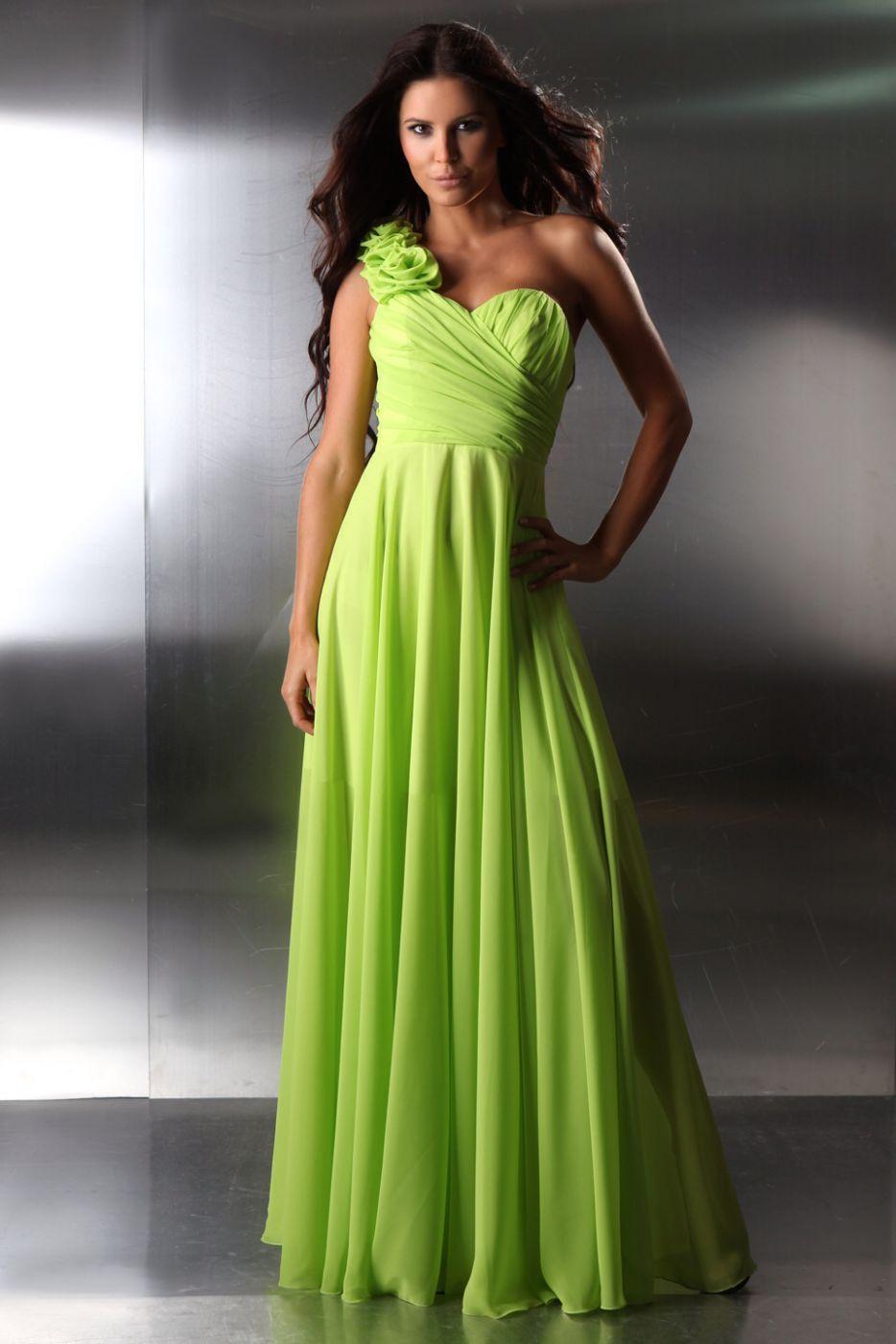 neueste ee7bd 24e7f Abschlussballkleid Apfelgrün Neongrün - Kleiderfreuden