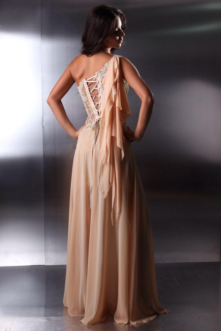 Designer Abendkleid nude aus Chiffon - Kleiderfreuden