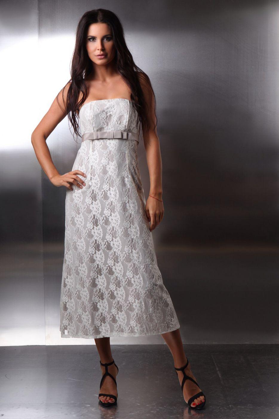 kurze hochzeitskleid standesamt spitze schulterfrei creme beige kleiderfreuden. Black Bedroom Furniture Sets. Home Design Ideas