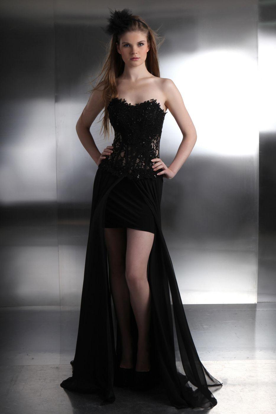 976b997a491f Sexy Designer Abendkleid mit Spitzenkorsage und Beinschlitz schwarz ...