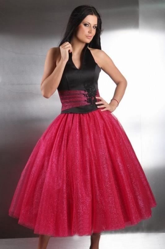 Old Style Abendkleid Knielang Pink Und Schwarz Mit Neckholder Kleiderfreuden