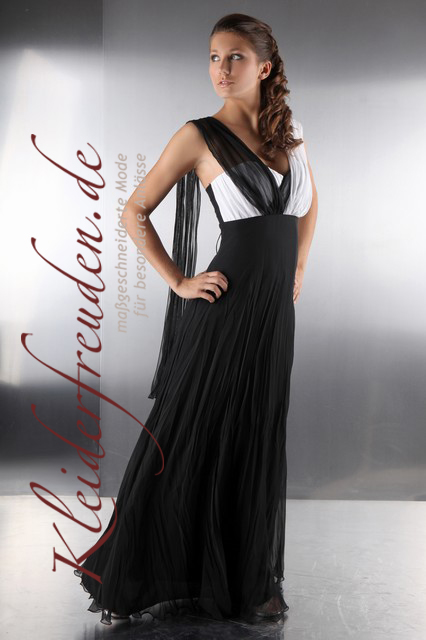 schwarz wei es abendkleid aus chiffon konfirmationskleid kleiderfreuden. Black Bedroom Furniture Sets. Home Design Ideas
