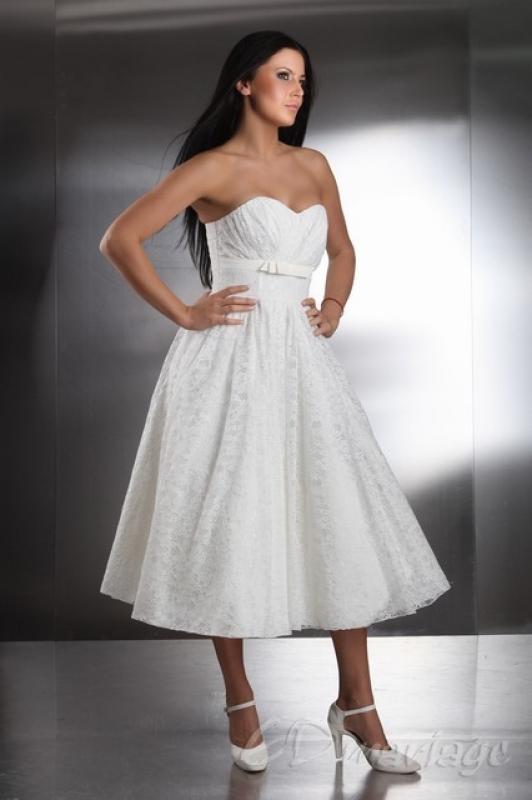 Wadenlanges Petticoat Brautkleid Standesamtkleid Maybel aus Tüll ...