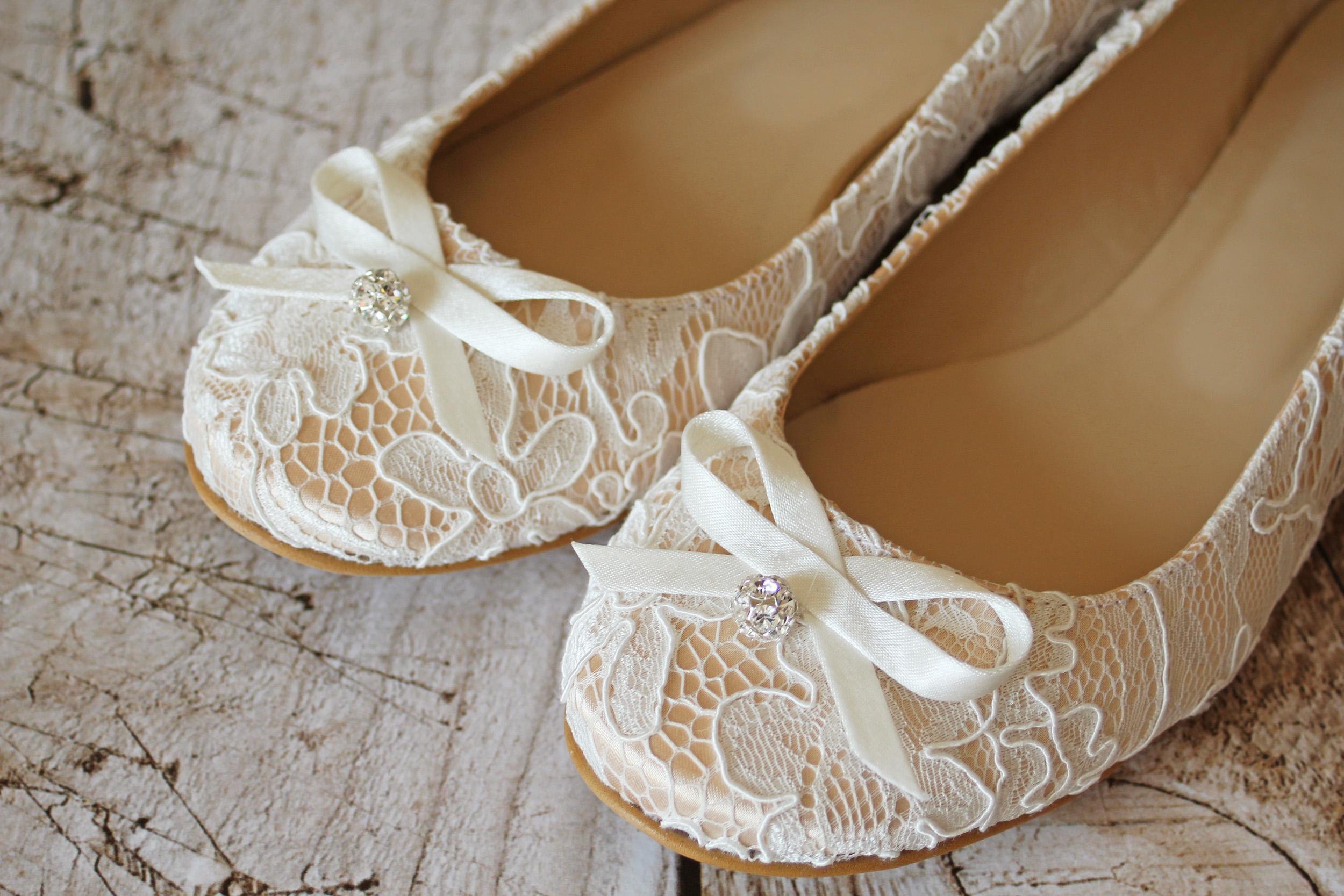 Flache Brautschuhe Ballerinas Spitze Creme Beige Kleiderfreuden