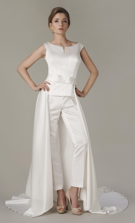 Hosenanzug für die Braut Kostüm mit schleppe - Kleiderfreuden