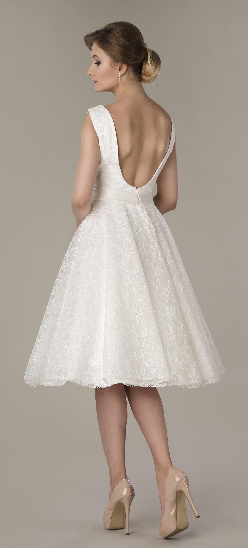 Kurzes Brautkleid 50er Jahre Stil mit U-Boot Ausschnitt Rückenfrei ...