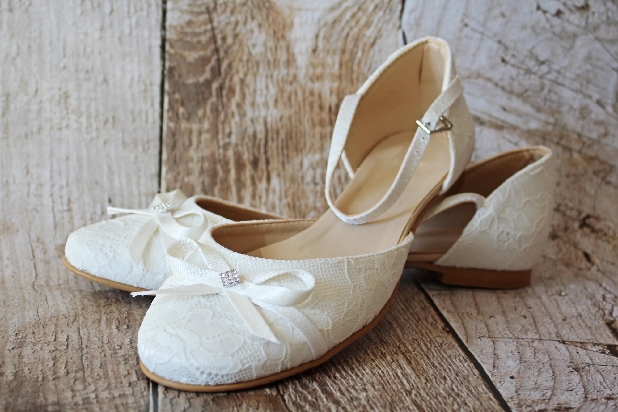 Flacher Brautschuh In Ivory Aus Spitze Kleiderfreuden