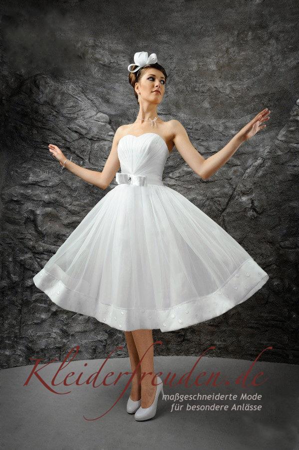 Rockabilly Brautkleid kurz mit Korsage Farbe weiß Gr. 38/40 ...