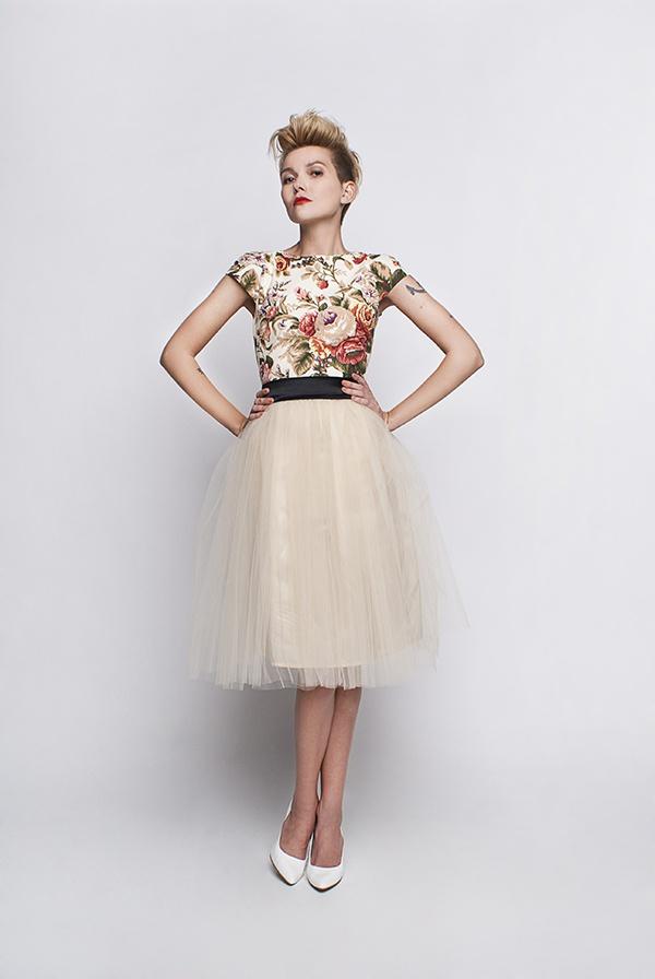 Standesamt Kleid beige creme mit Rosenmuster - Kleiderfreuden