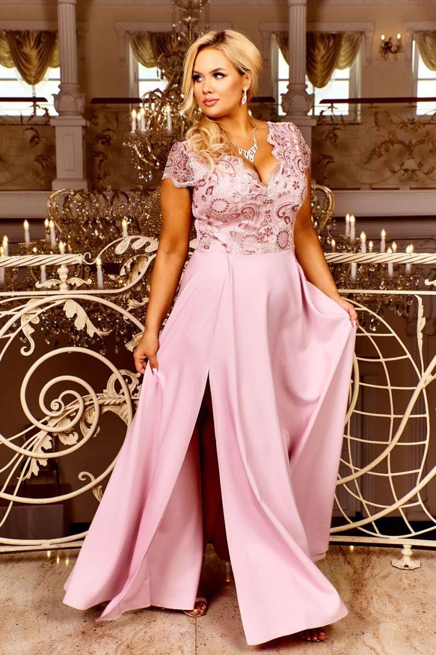 XXL Abendkleid rosa mit Beinschlitz und Ärmeln. Erhältlich bis