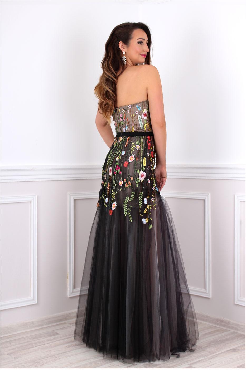 Abendkleid mit Blumenstickerei Kleid mit Blumen lang - Kleiderfreuden