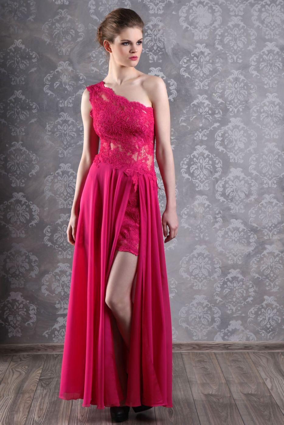 Abendkleid Ballkleid in Pink aus Chiffon und Spitze - Kleiderfreuden