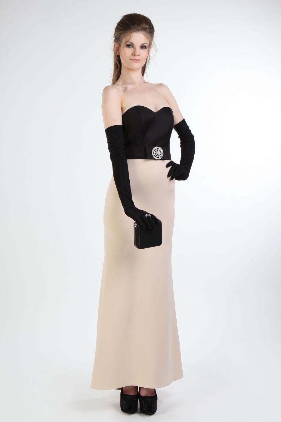 1546ed6d44c2 Langes Abendkleid in creme schwarz - Kleiderfreuden