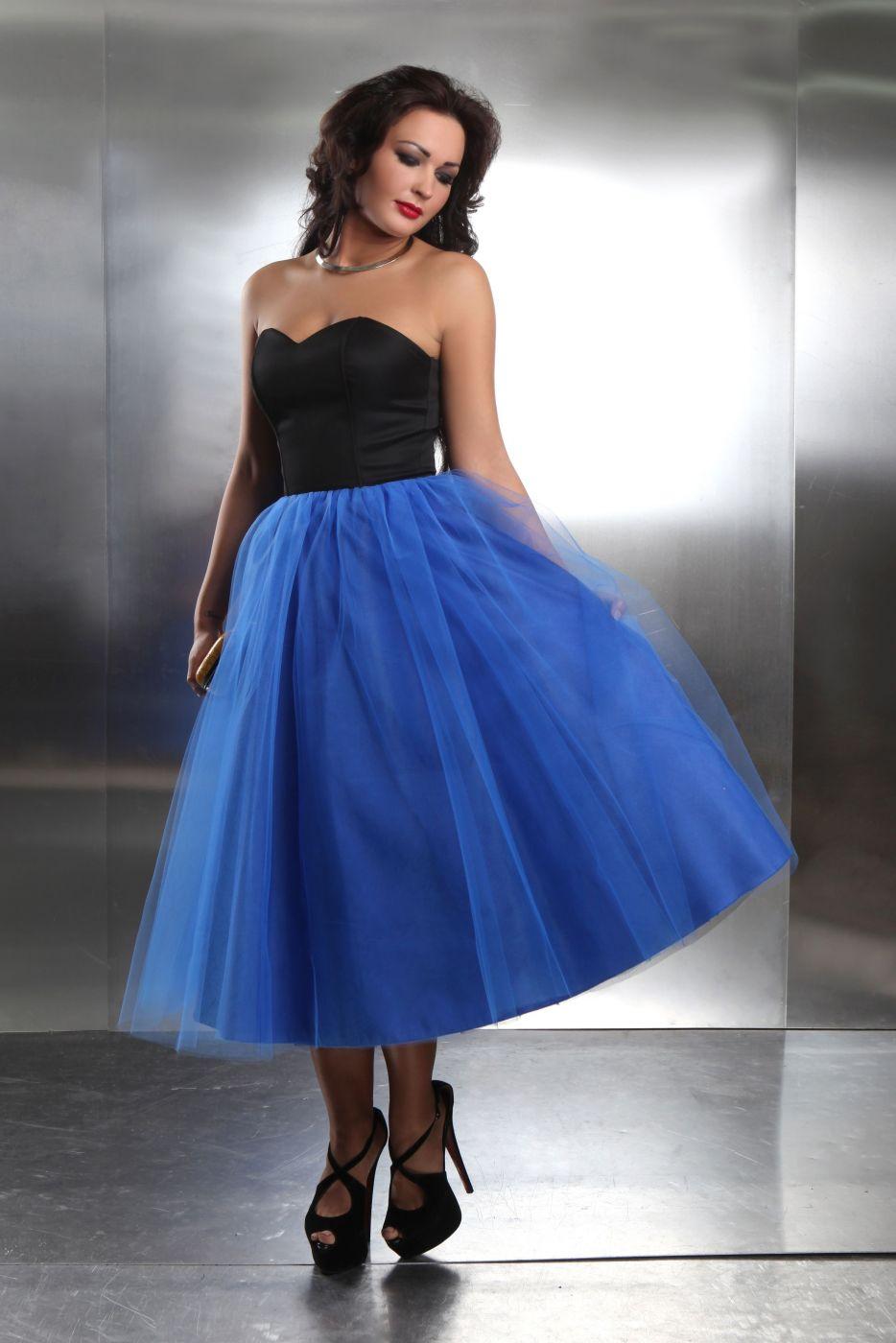 Wadenlanges Abendkleid mit Tüllrock in schwarz blau - Kleiderfreuden