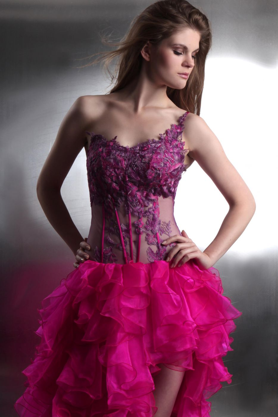 Cocktailkleid vorne kurz hinten lang in Pink transparente ...