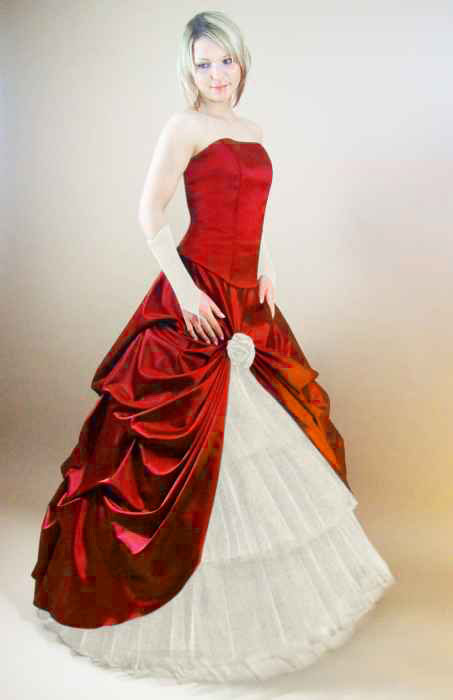 Brautkleid Rot Weiãÿ | Romantisches Brautkleid Rot Schwarz Gunstig Kleiderfreuden