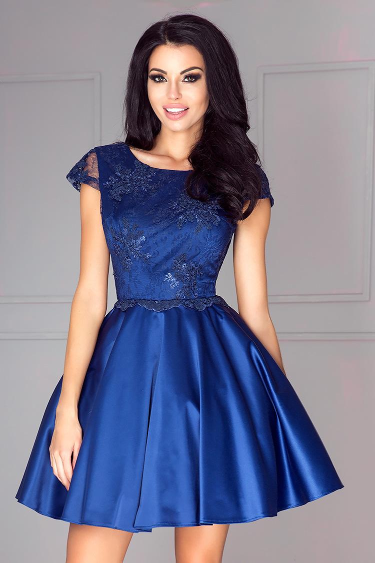 Blaues Cocktailkleid Aus Satin Und Spitze Massanfertigung Kleiderfreuden