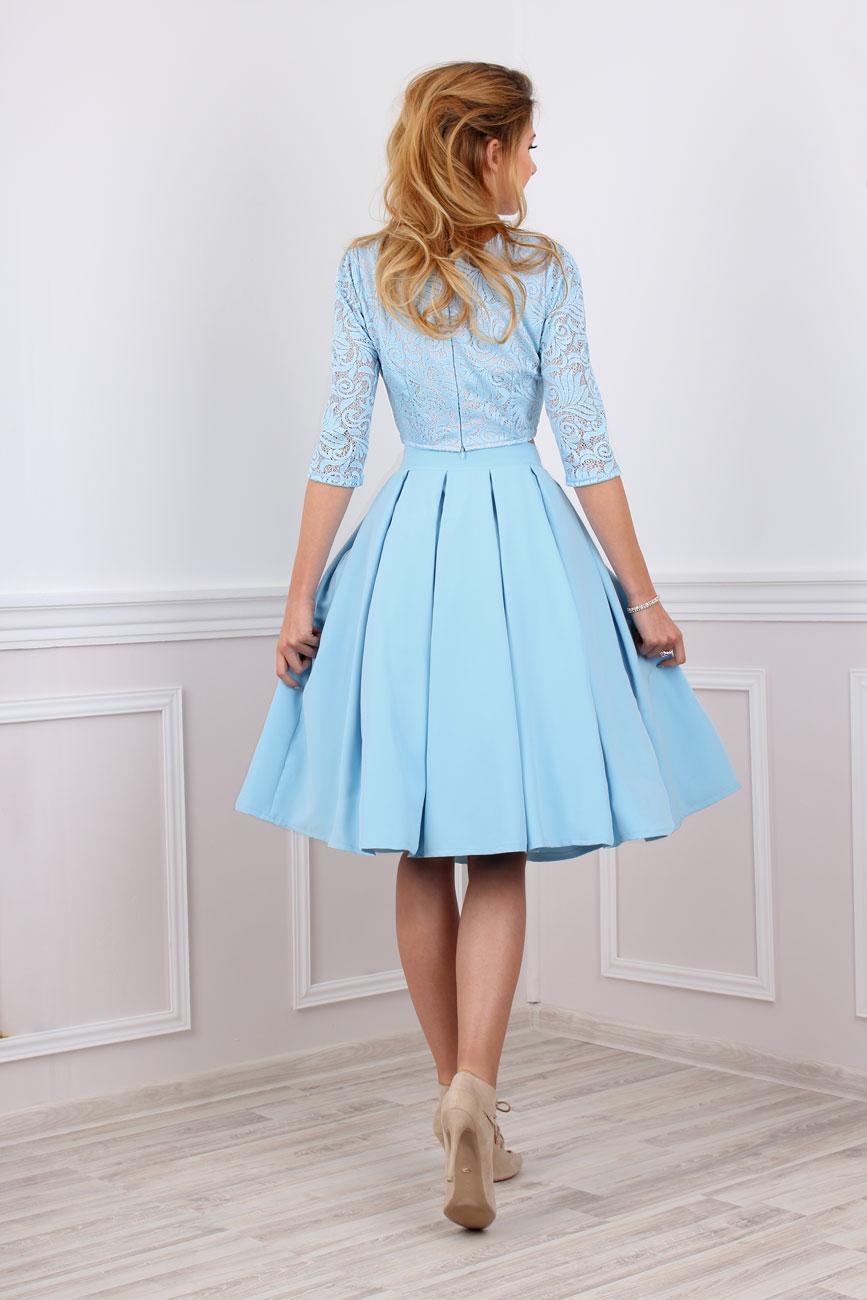 Zweiteiliges Kleid festlich bauchfrei in blau ...