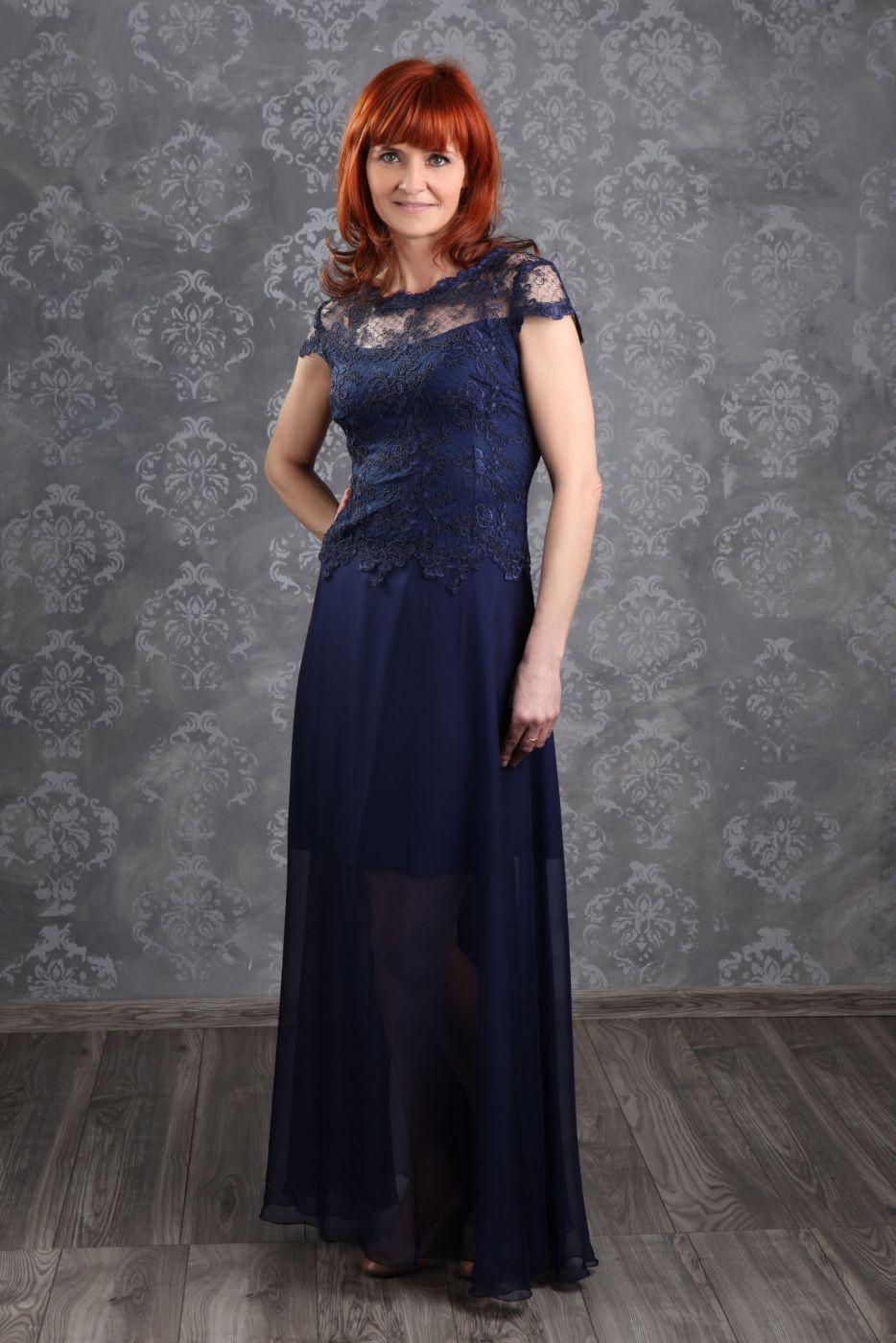 Langes Abendkleid für die reife Frau in ivory creme Spitze ...