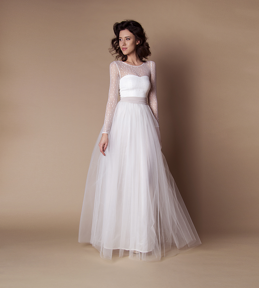 Langes schmales Boho Brautkleid - Kleiderfreuden