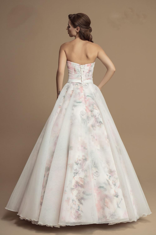 Langes Brautkleid mit Blumen Muster rosa bunt - Kleiderfreuden