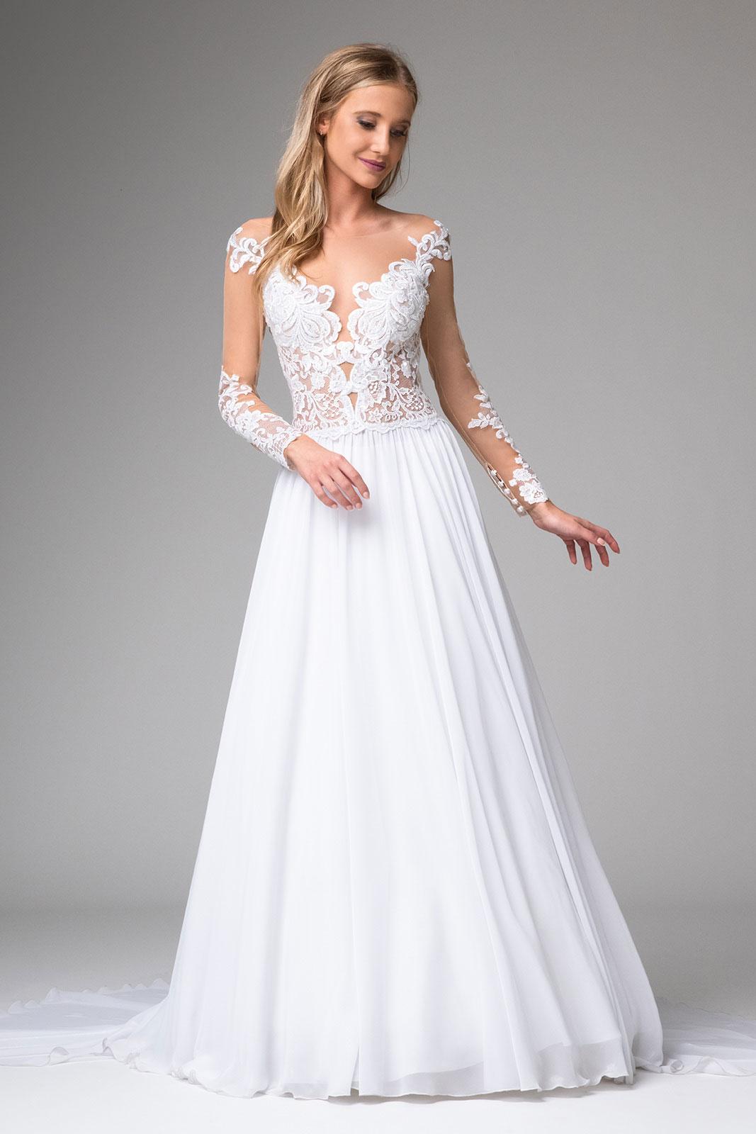 Brautkleider a linie mit Ärmeln Maßanfertigung - Kleiderfreuden