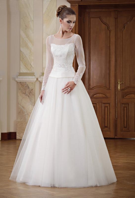 A-Linien Brautkleid mit langen Ärmeln und Bolero - Kleiderfreuden