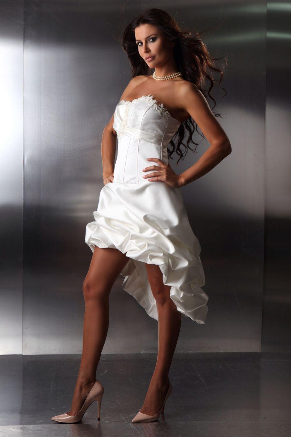Standesamtkleid Brautkleid Vorne Kurz Hinten Lang Aus Taft