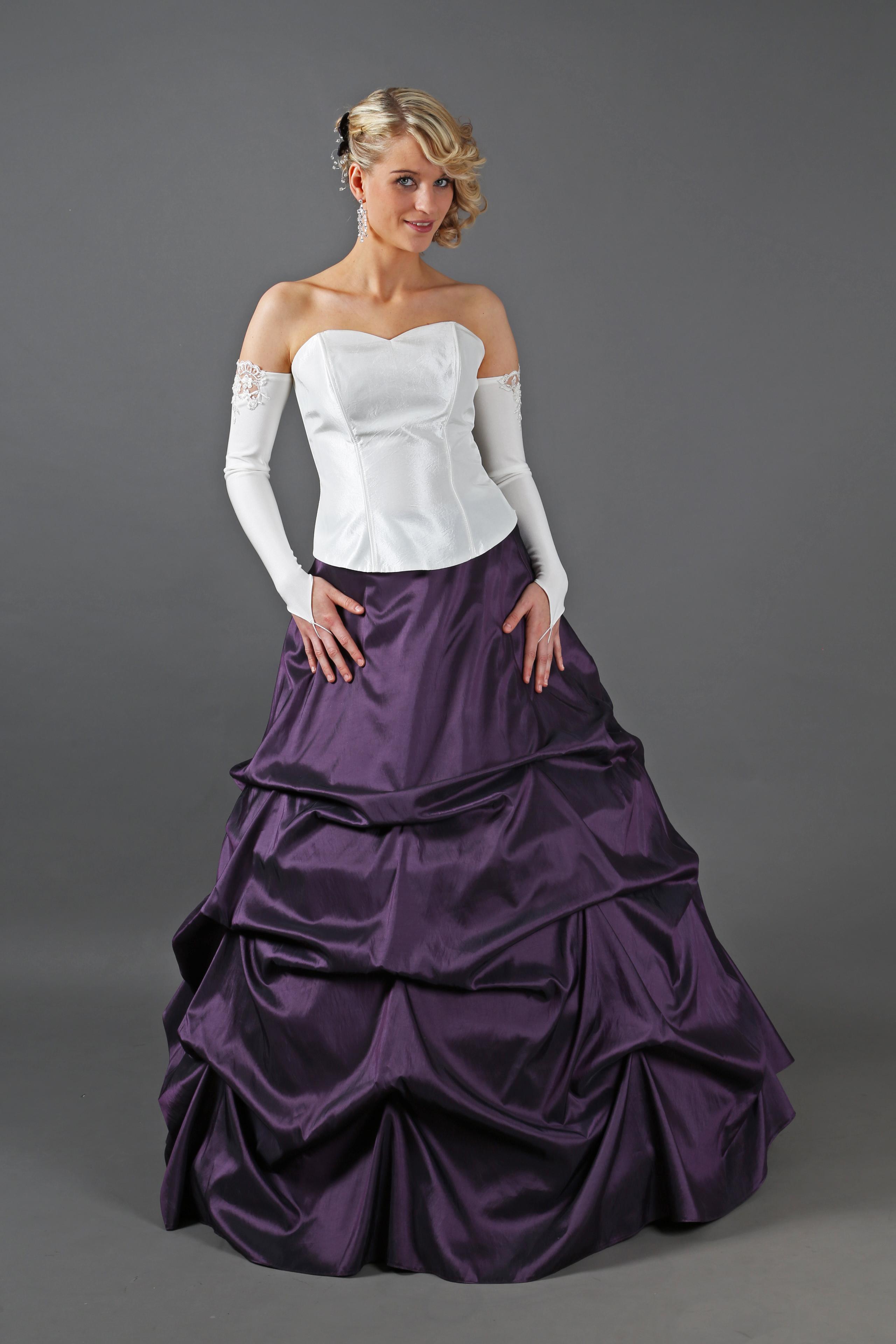 Drapiertes Brautkleid lila creme ivory - Kleiderfreuden