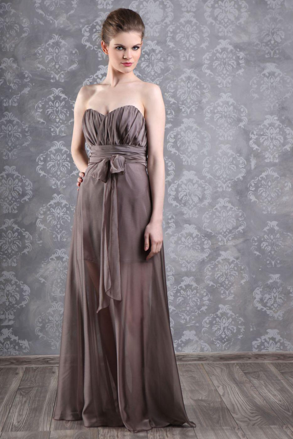 chiffon Abendkleid braun - Kleiderfreuden