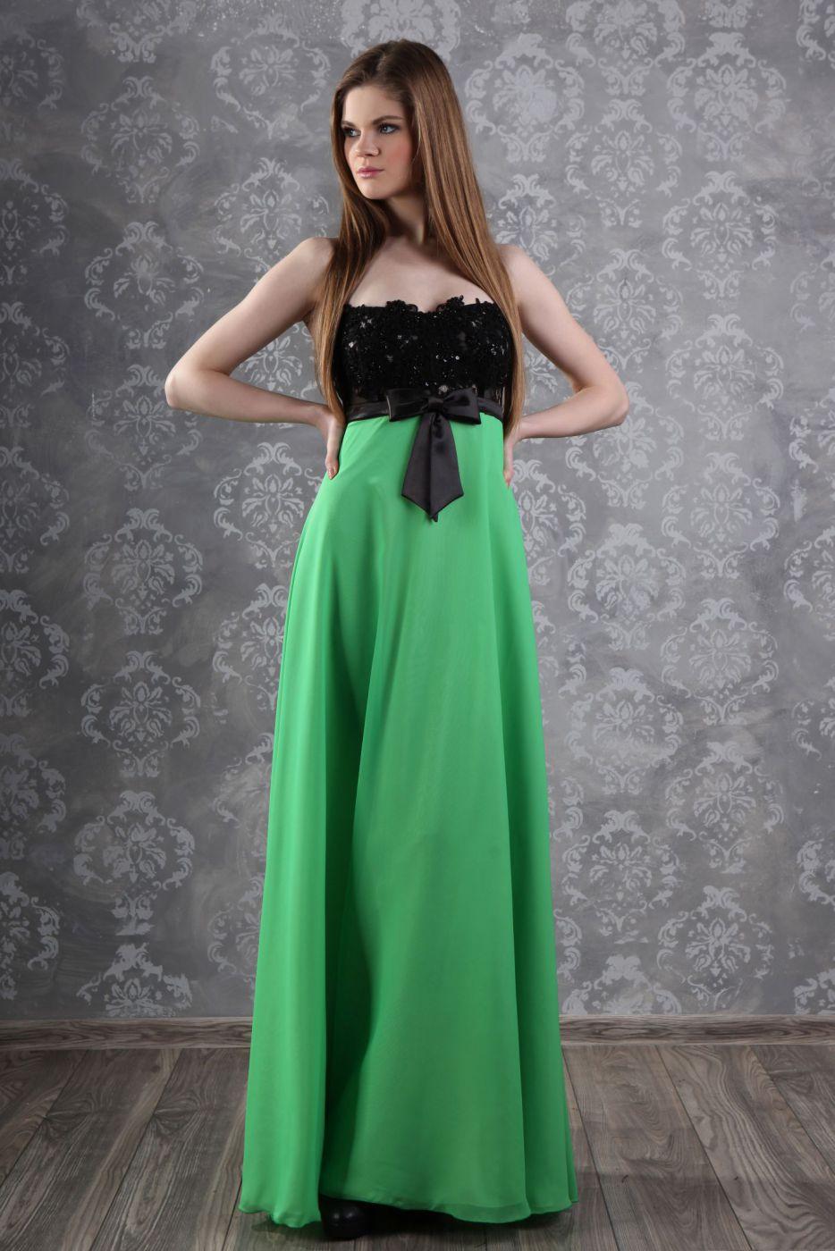 Abschlussballkleid grün schwarz lang aus Chiffon uns Spitze ...
