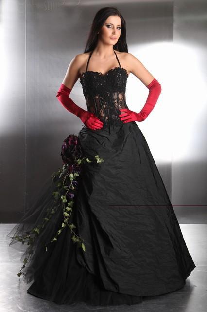 Ballkleid Brautkleid im Westernlook. Trendig in schwarz weiß ...