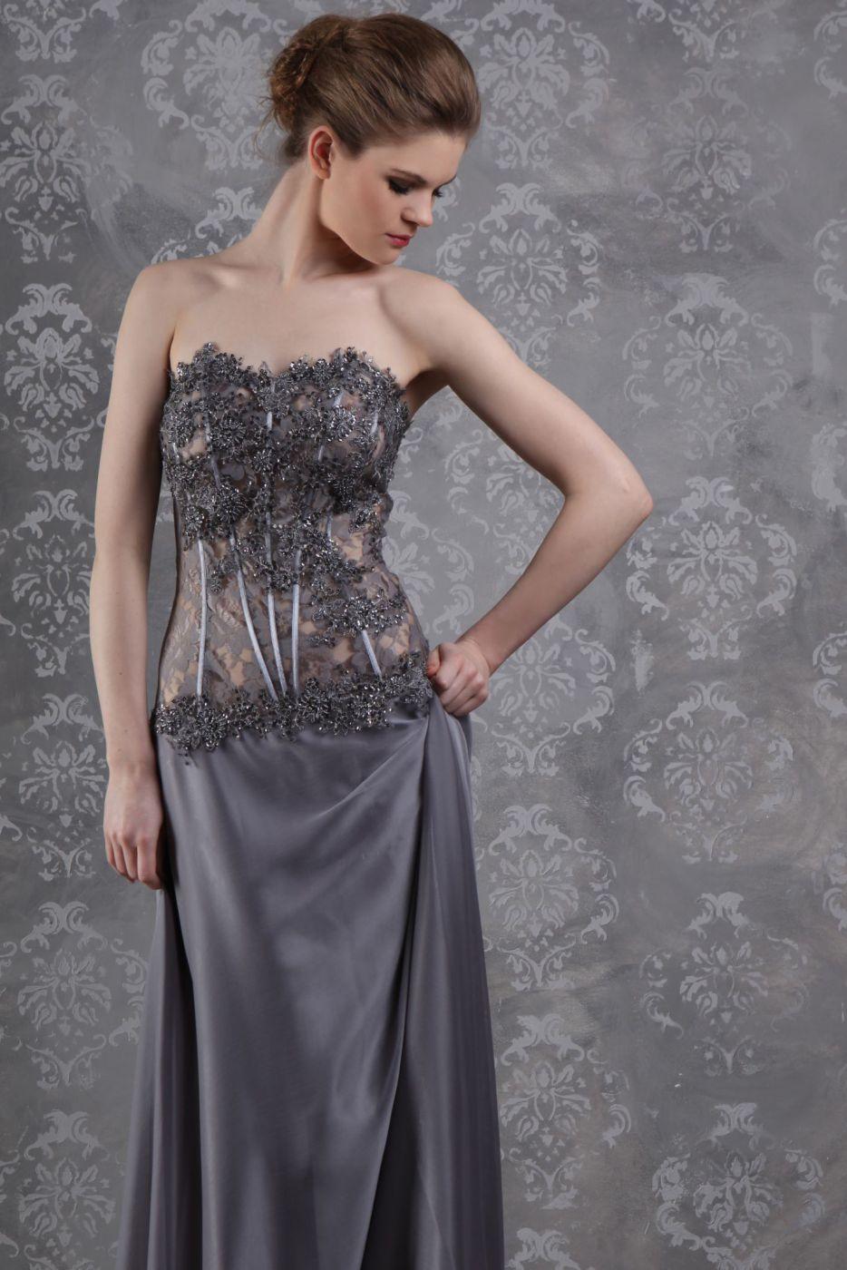 langes abendkleid ballkleid silber grau - kleiderfreuden